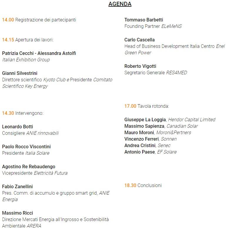 Programma CONVEGNO Key Energy - 3 maggio 2018